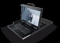 LD1808:8口18.5寸高清LED屏幕DVI KVM控制台