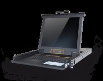 HT1716:17寸屏幕矩阵式双通道16口高清 IP KVM控制台